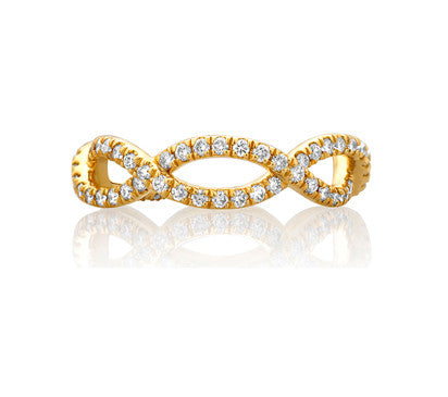 A.JAFFE 18k Yellow Gold Eternity Diamond Wedding Band WR0849 / 69