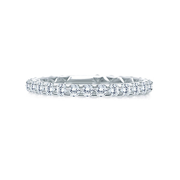 A.JAFFE 18K White Gold Delicate Quilted Anniversary Band WR1025Q/34