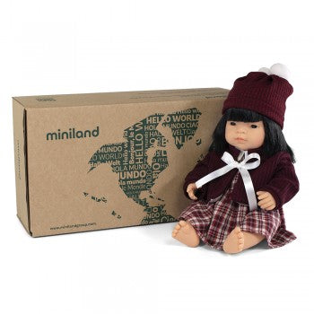 Miniland Doll - Anatomically Correct Baby, Asian Girl and Outfit Boxed, 38 cm (UNDRESSED)