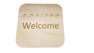 WYLTP Auslan Wooden Hanging Welcome Sign
