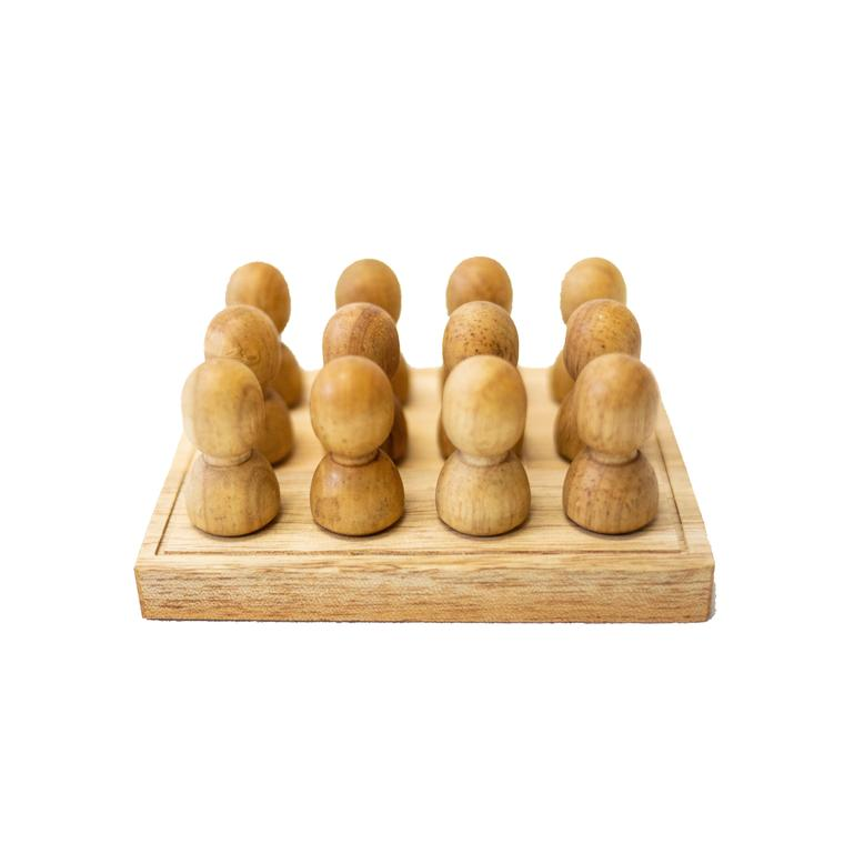 Wooden People In A Tray Natural Small