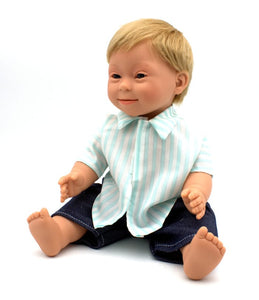 Doll With Down Syndrome Caucasian Boy Blonde Short Hair 40cm