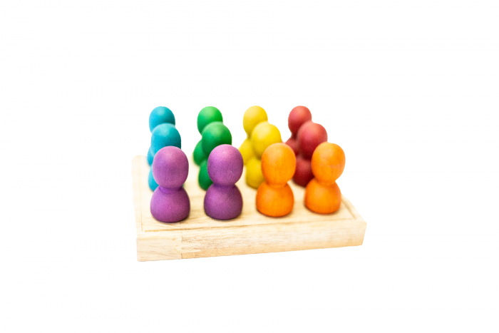 Wooden People In A Tray Rainbow Small