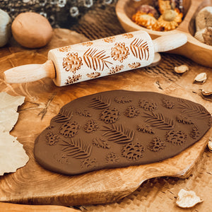 Engraved Wooden Rolling Pin Pinecones