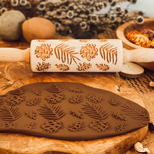 Load image into Gallery viewer, Engraved Wooden Rolling Pin Pinecones