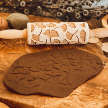 Load image into Gallery viewer, Engraved Wooden Rolling Pin Leaves