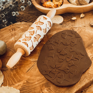 Engraved Wooden Rolling Pin Leaves