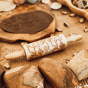 Engraved Wooden Rolling Pin Herbs
