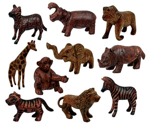Wood Carved Animal Set - Wildlife Animals