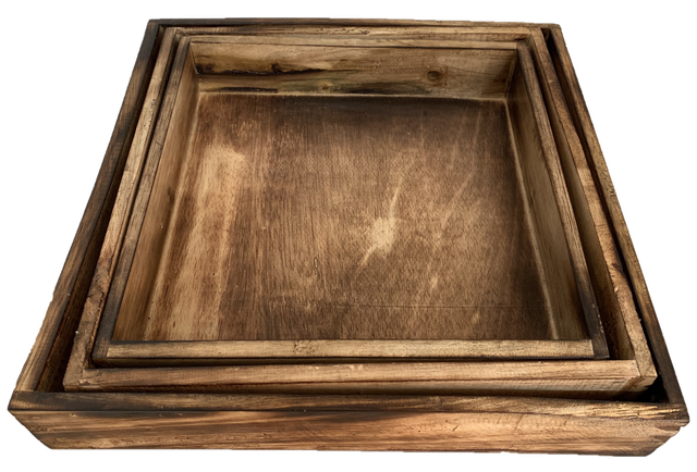 Nested Rustic Trays Set Of 3