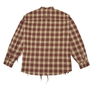Raw Edge Flannel Shirt Red