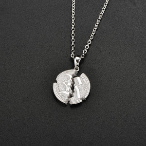 Cracked Coin Necklace Silver