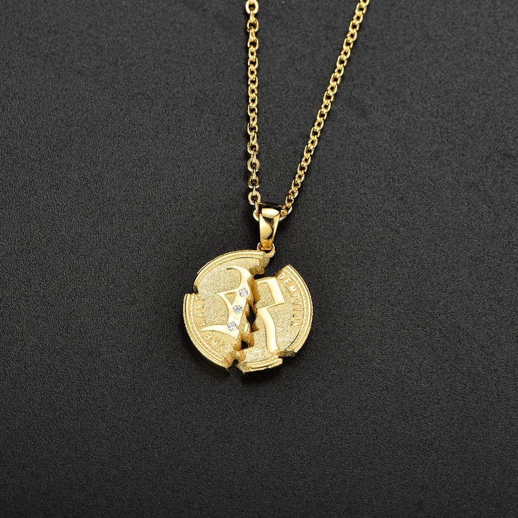 Cracked Coin Necklace Gold