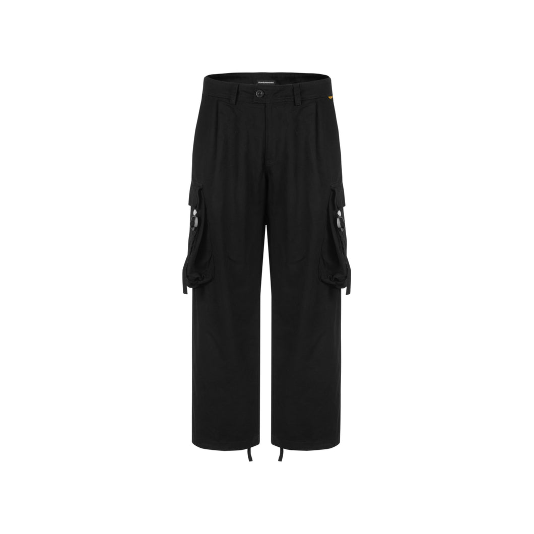 Wide Leg Cargo Black Pants