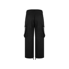 Load image into Gallery viewer, Wide Leg Cargo Black Pants