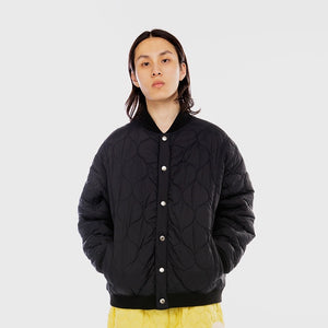 Oval Logo Quilted Bomber Black Jacket