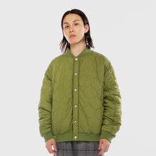 Load image into Gallery viewer, Oval Logo Quilted Bomber Green Jacket