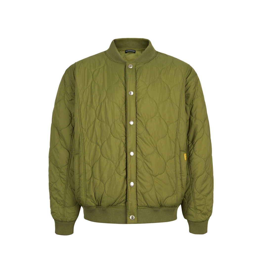 Oval Logo Quilted Bomber Green Jacket
