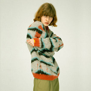 Zebra Knit Mohair Sweater