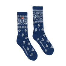 Load image into Gallery viewer, Bandana Socks Navy