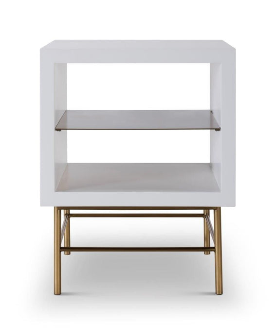 Gillmore ALBERTO Side Table White With Brass Frame And Shelf - kudo Lounge