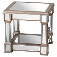 Load image into Gallery viewer, Hills Belfry Side Table handcrafted Mirrored Finish Champagne Detailing - kudo Lounge