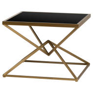 Hills Antique Bronze Finish Side table Glass Top Contemporary Design - kudo Lounge