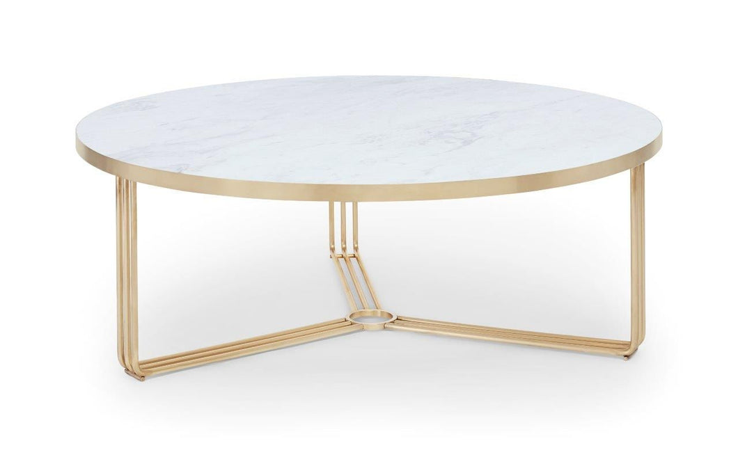 Gillmore Round Coffee Table White Marble Top & Brass Frame - kudo Lounge