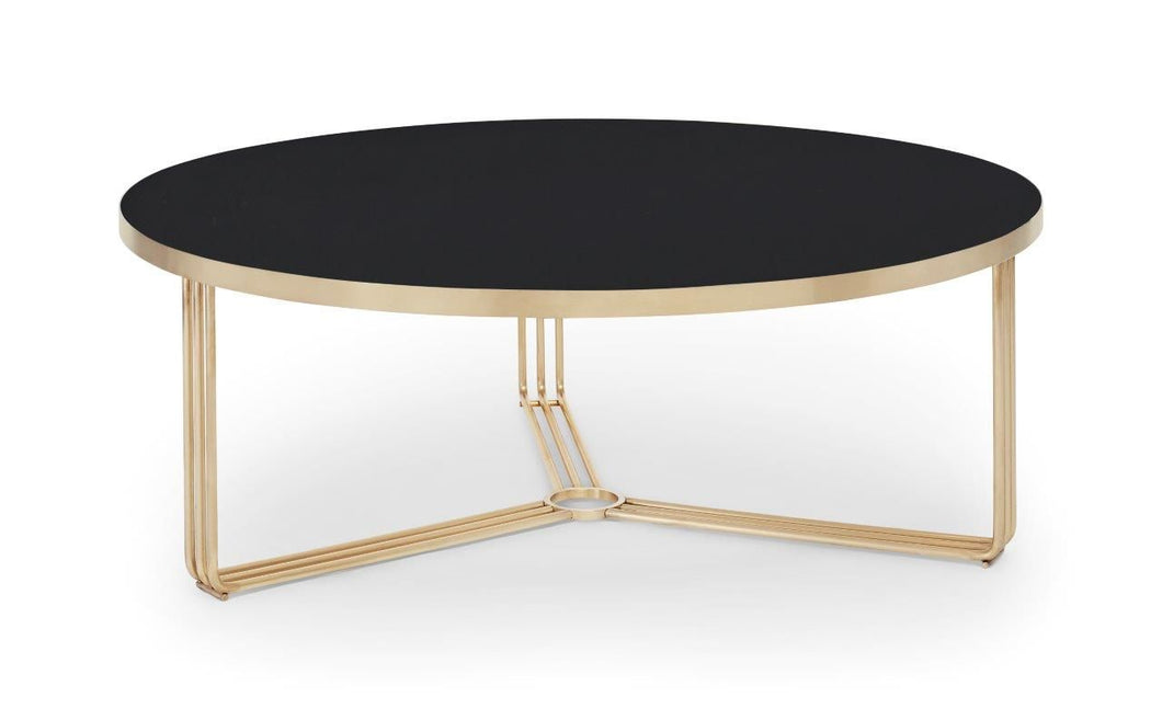 Gillmore Finn Large Black Glass Top Round Coffee Table Brass Frame - kudo Lounge