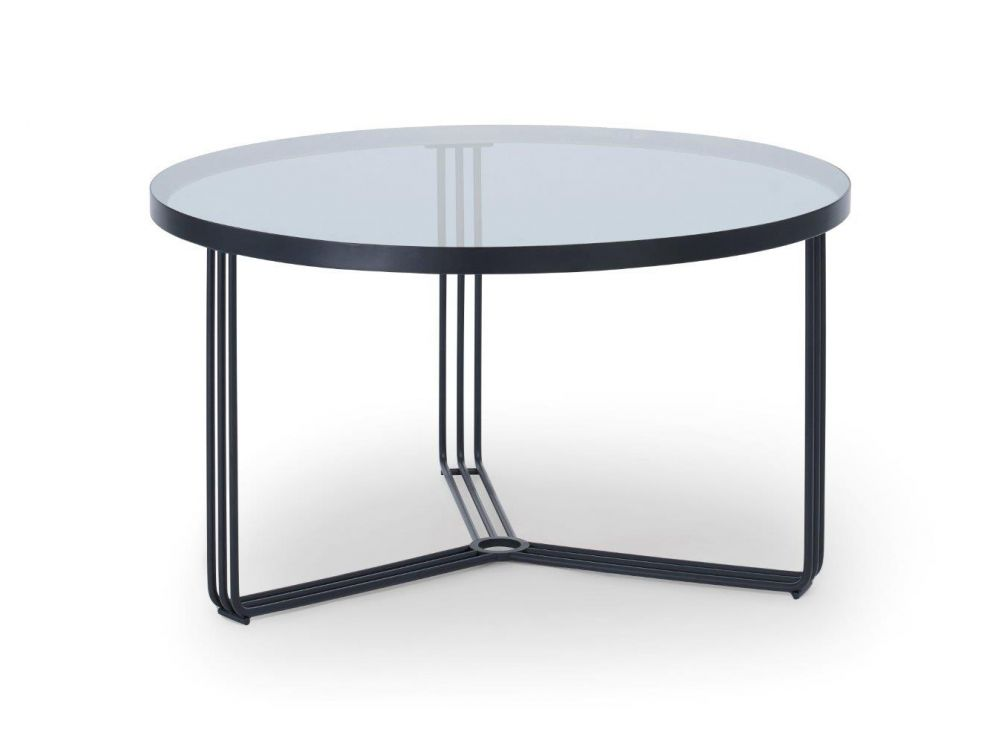 Gillmore Finn Small Circular Glass Top Black Frame Coffee Table
