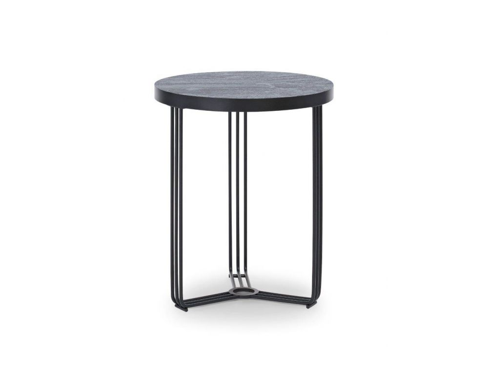 Gillmore Finn Circular Oak Top Black Frame Side Table