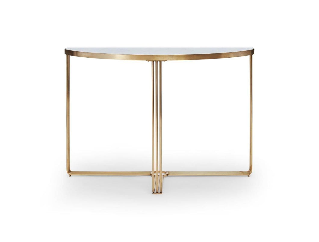 Gilmore FINN DEMI LUNE CONSOLE TABLE White Marble Top & Brass Frame - kudo Lounge