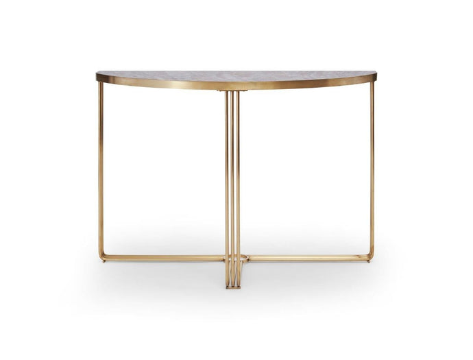 Gilmore FINN Demi Lune Console Table with Dark Stone Top & Brass Frame - kudo Lounge