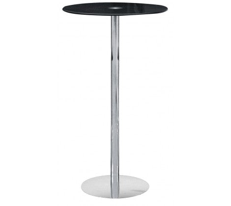 Premier Housewares Black Tempered Glass Bar Table Chrome Finish Base - kudo Lounge