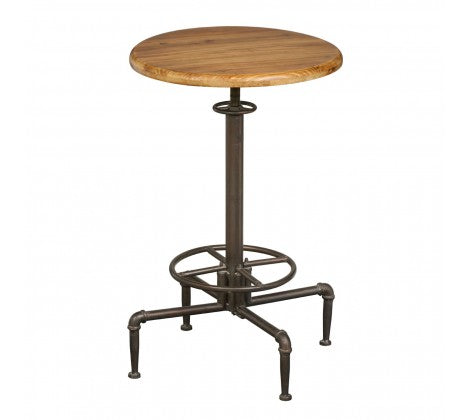 Premier Housewares Foundry Fir Wood Metal Bar Table With Distressed Look - kudo Lounge