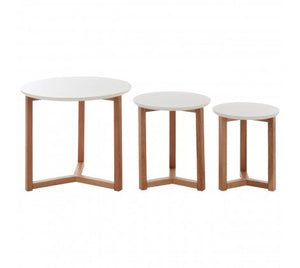 Premier Housewares Set Of 3 Side Tables With White Tops