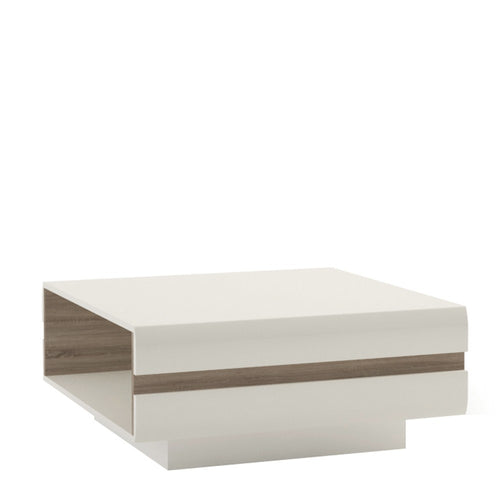 Furniture To Go Chelsea Living Designer Coffee Table in white with an Truffle Oak Trim