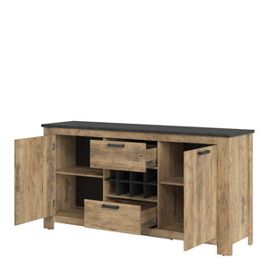 Furniture To Go Rapallo 2 door 2 drawer sideboard with wine rack in Chestnut and Matera Grey