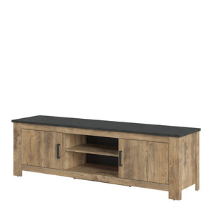 Furniture To Go Rapallo 2 door wide TV cabinet in Chestnut and Matera Grey