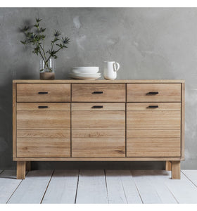 Gallery Direct Kielder Solid Oak Sideboard 3 Doors 3 Drawers - kudo Lounge