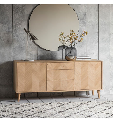 Gallery Direct Milano chevron inlay With rustic oak 2 Door 3 Drawer Sideboard - kudo Lounge
