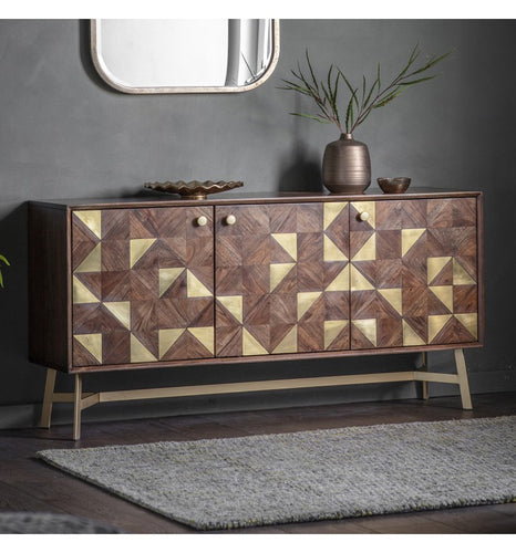 Gallery Direct Tate 3 door Inliad Brass, Acacia Wood Sideboard - kudo Lounge