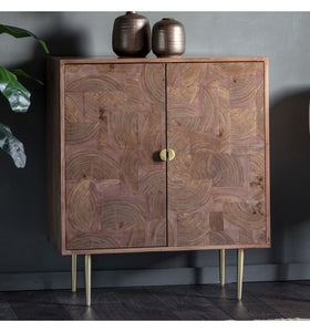 Gallery Direct Ontario Acacia Wood Veneer 2 door Drinks Cabinet - kudo Lounge