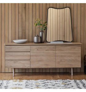Gallery Direct Madrid Natural oak 2 Door 3 Drawer Sideboard - kudo Lounge