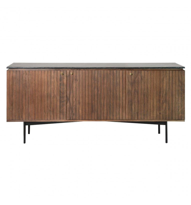 Gallery Direct Bari 3 Door Wooden Sideboard Black Top - kudo Lounge