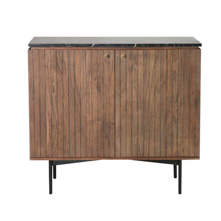 Gallery Direct Bari 2 Door Bar Sideboard Black Marble Top - kudo Lounge