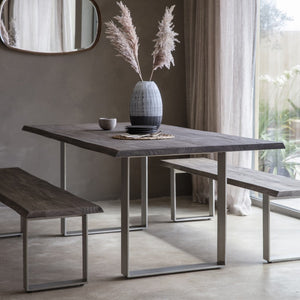 Gallery Direct Huntington Dining Table Grey Top Chrome Metal Legs - kudo Lounge