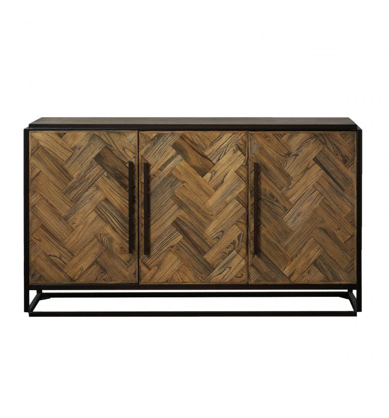 Gallery Direct Parquet Distressed Finish 3 Door Sideboard Metal Framed Legs - kudo Lounge