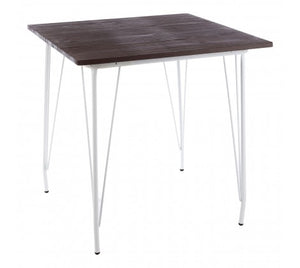 Premier Housewares District White Metal And Elm Wood Table