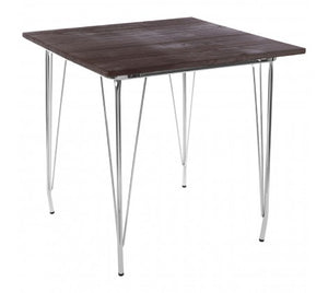 Premier Housewares District Chrome Metal And Elm Wood Table